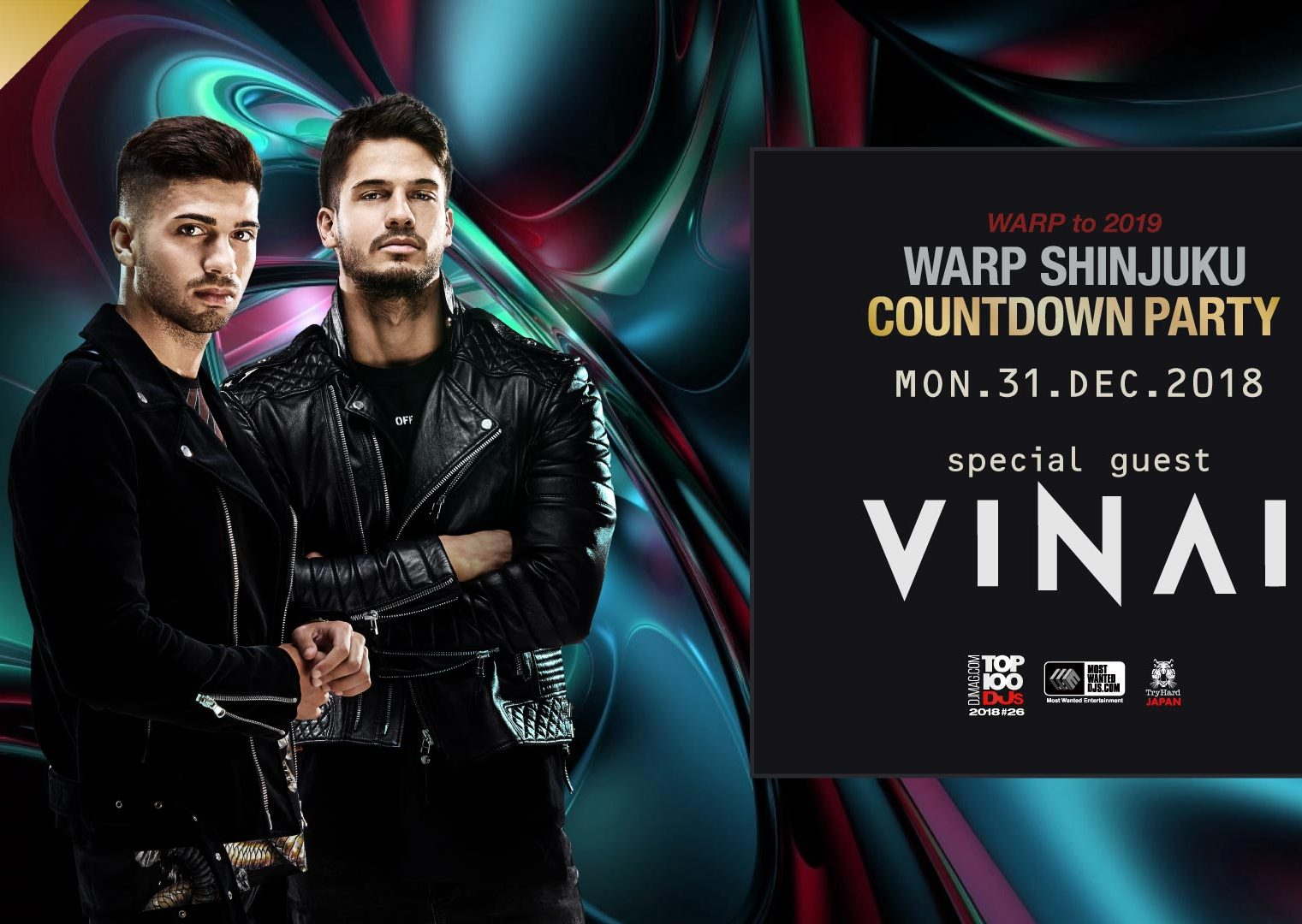 2018年12月31日(月)、「WARP SHINJUKU」のカウントダウンにVINAIが出演決定!